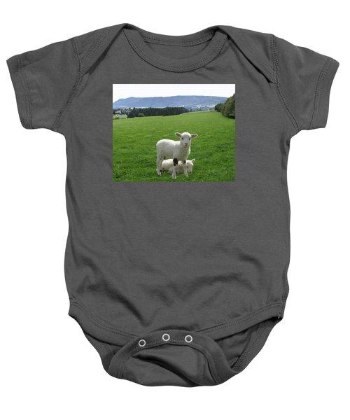 Lambs In Pasture Baby Onesie by Dominic Yannarella