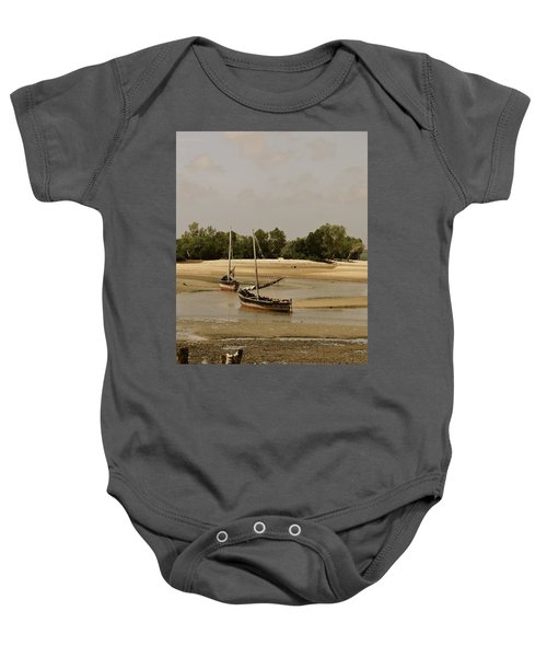 Lamu Island - Wooden Fishing Dhows At Low Tide With Pier - Antique Baby Onesie