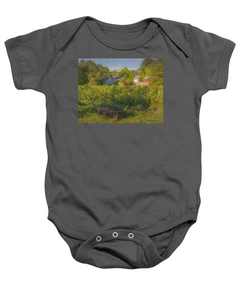 Langwater Farm Sunflowers And Barns Baby Onesie