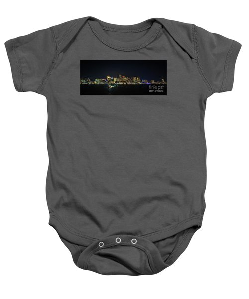 Large Panoramic Of Downtown Boston At Night Baby Onesie