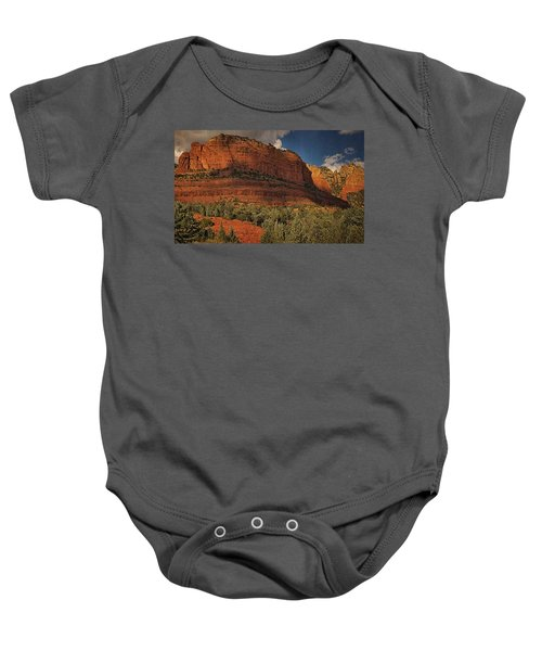 Late Light At Brin's Mesa Txt Pano Baby Onesie