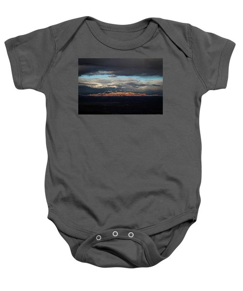 Late Light On Red Rocks With Storm Clouds Baby Onesie