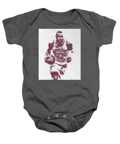 Lebron James Cleveland Cavaliers Pixel Art 4 Baby Onesie by Joe Hamilton