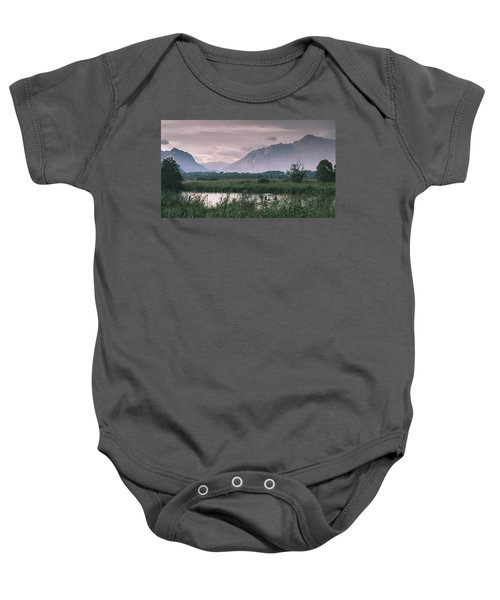 Leisure Boat On River Adda In Northern Italy, Close To Lake Como - Reflection Of Italian Alps Baby Onesie