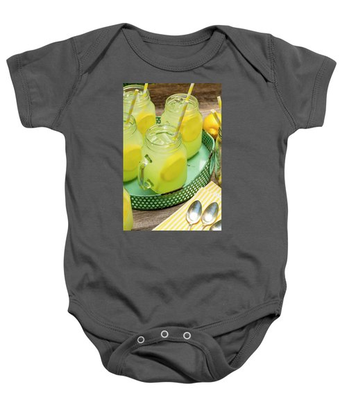 Lemonade In Blue Tray Baby Onesie