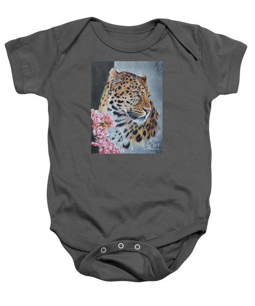 Leopard And Roses Baby Onesie