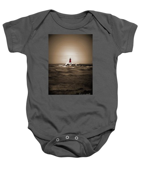 Lighthouse Glow Sepia Spot Color Baby Onesie
