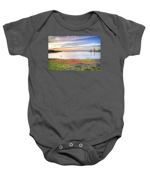 Lighthouse Sunset At Lake Buchanan Baby Onesie