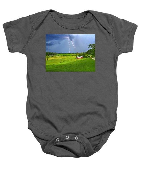 Lightning Storm Over Jenne Farm Baby Onesie