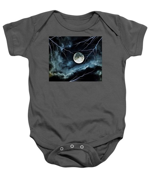 Lightning Sky At Full Moon Baby Onesie