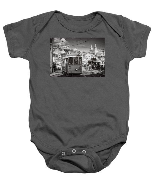 Lisbon Tram Bw Baby Onesie