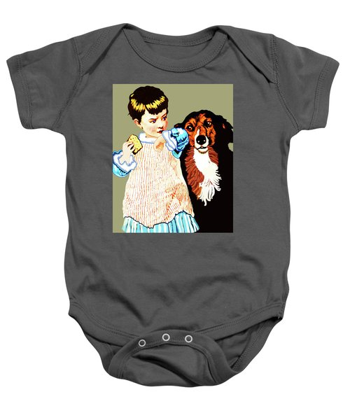 Little Girl With Hungry Mutt Baby Onesie