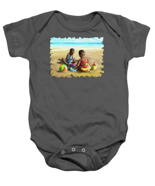 Little Girls At The Beach Baby Onesie