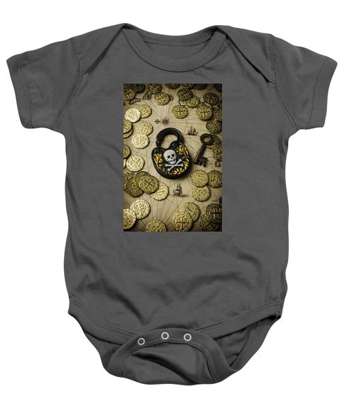 Lock And Gold Coins Baby Onesie