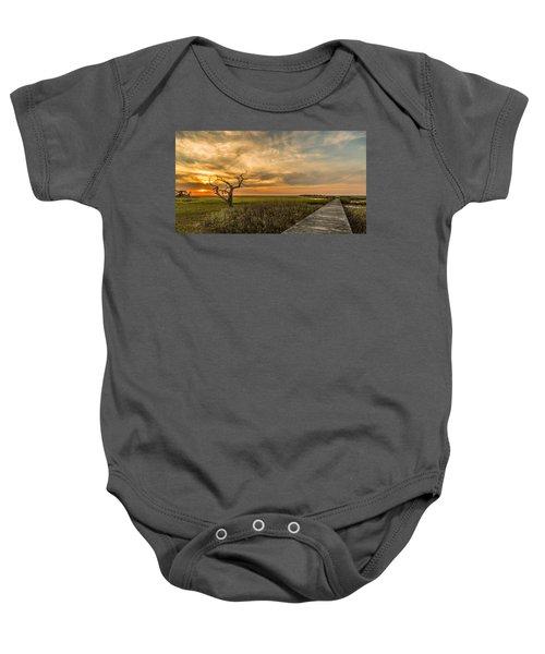 Lone Cedar Dock Sunset - Dewees Island Baby Onesie