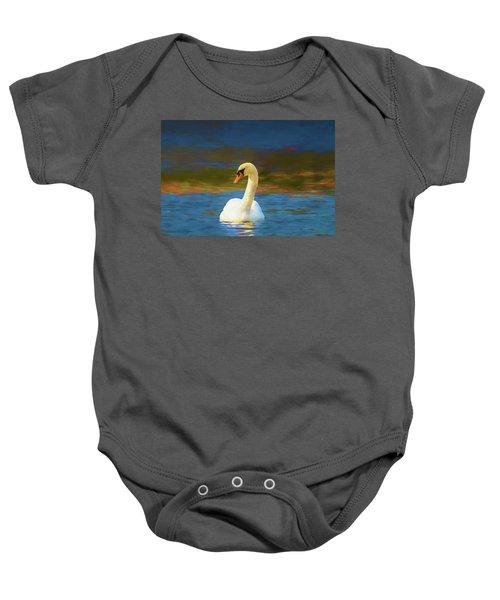 Lone Mute Swan. Baby Onesie