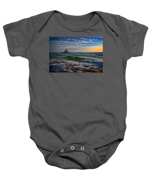 Long Beach Bar Lighthouse Baby Onesie
