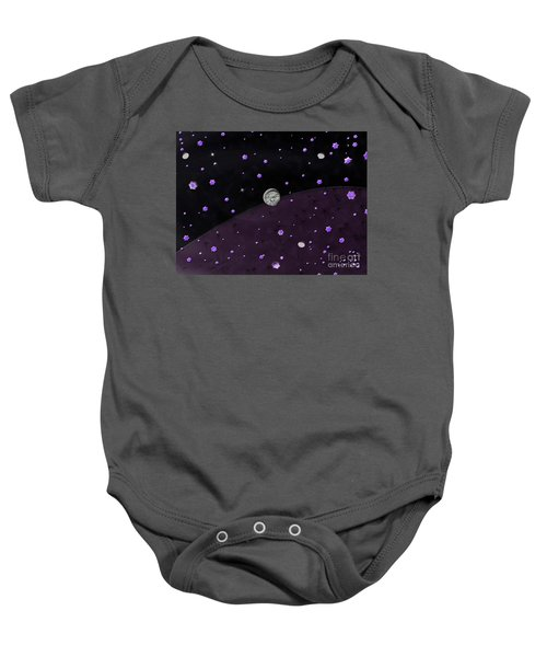 Lost In Midnight Charcoal Stars Baby Onesie