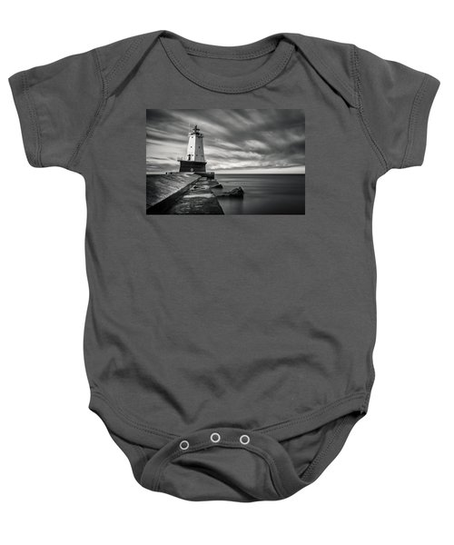 Baby Onesie featuring the photograph Ludington Light Black And White by Adam Romanowicz