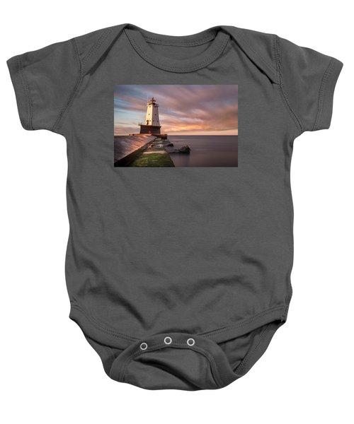 Baby Onesie featuring the photograph Ludington Light Sunrise Long Exposure by Adam Romanowicz