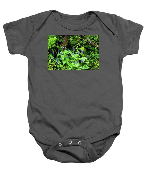 Lush Purple Flowers In The Woods Baby Onesie