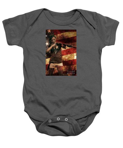 M1 Carbine On American Flag Baby Onesie