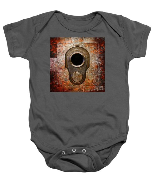 M1911 Muzzle On Rusted Riveted Metal Baby Onesie