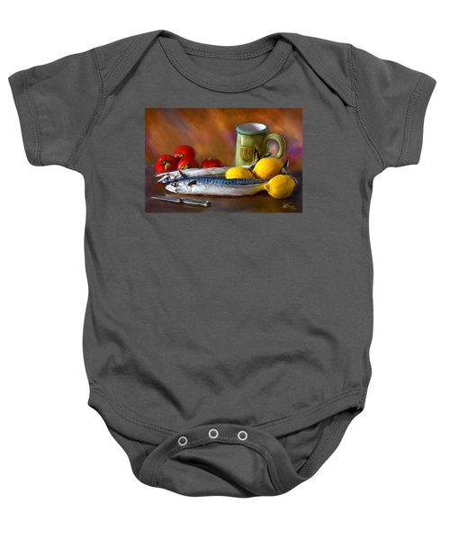 Mackerels, Lemons And Tomatoes Baby Onesie