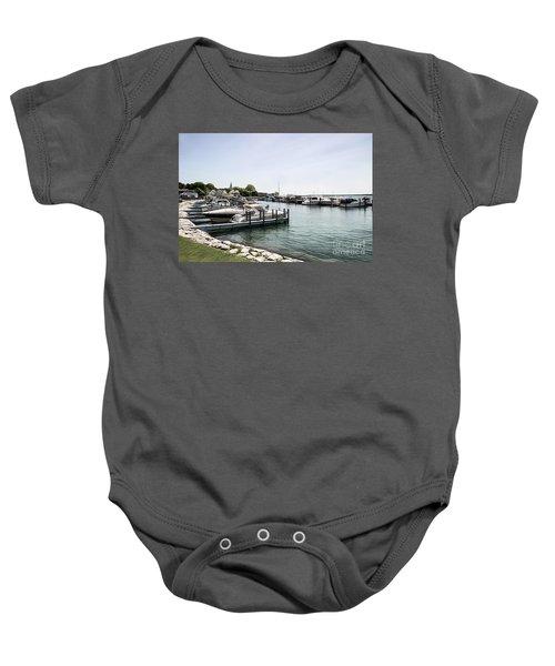 Mackinac Marina Art Baby Onesie
