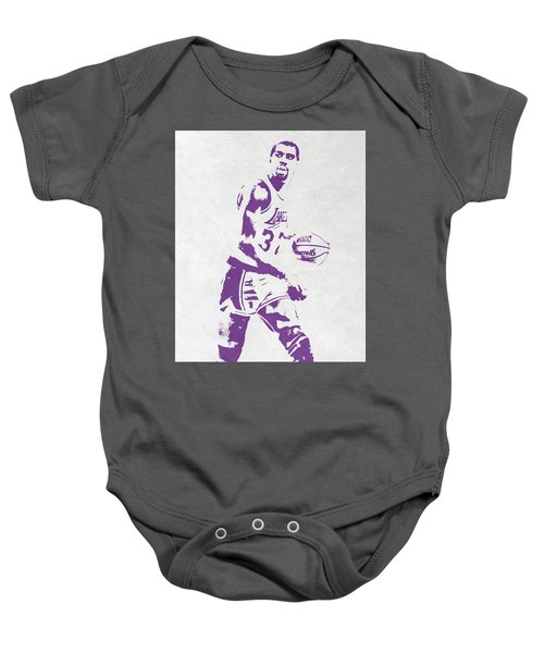 Magic Johnson Los Angeles Lakers Pixel Art Baby Onesie by Joe Hamilton