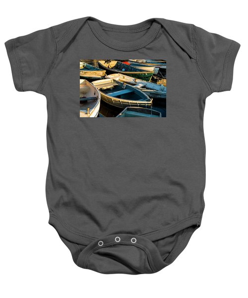 Maine Boats At Sunset Baby Onesie