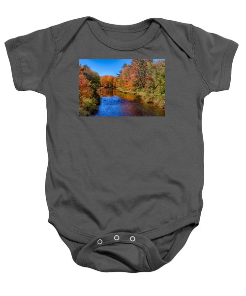 Maine Brook In Afternoon With Fall Color Reflection Baby Onesie