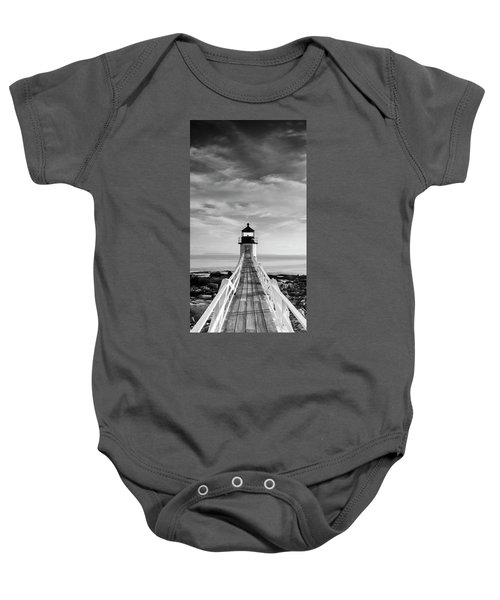 Maine Marshall Point Lighthouse Vertical Panorama In Black And White Baby Onesie