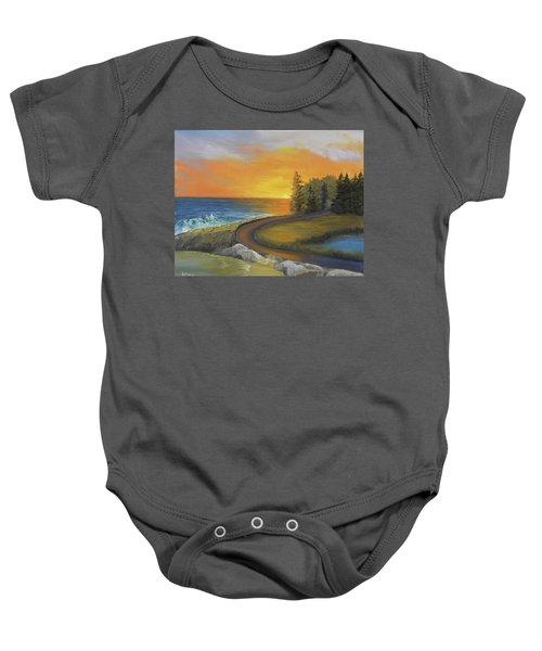 Maine Ocean Sunrise Baby Onesie