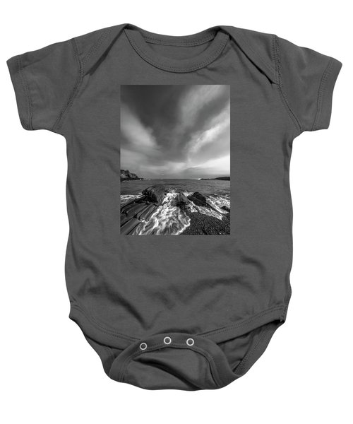 Maine Storm Clouds And Crashing Waves On Rocky Coast Baby Onesie