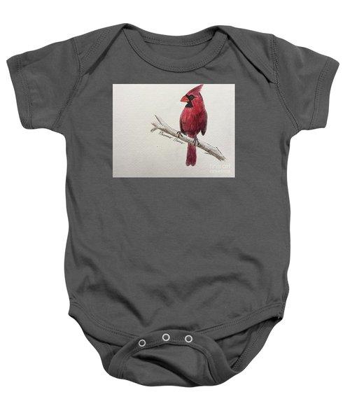 Male Cardinal In Winter Baby Onesie
