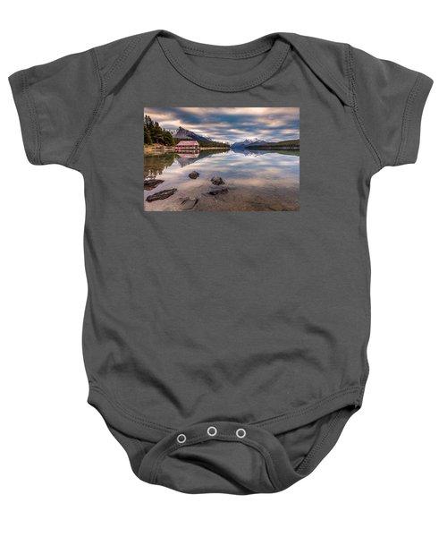 Maligne Lake Boat House Sunrise Baby Onesie