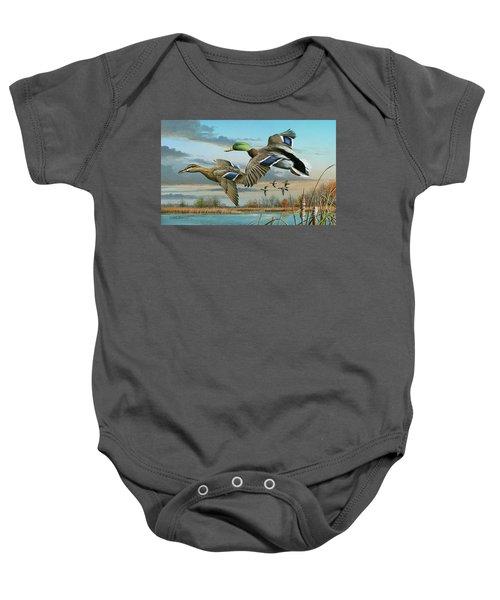 Mallards In Flight Baby Onesie