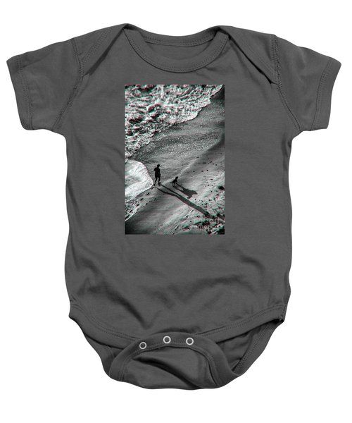 Man And Dog On The Beach Baby Onesie