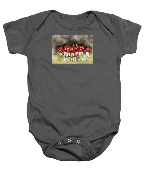 Manchester United  In Action  Baby Onesie by Don Kuing