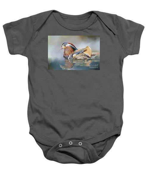 Mandarin Duck Swimming Baby Onesie