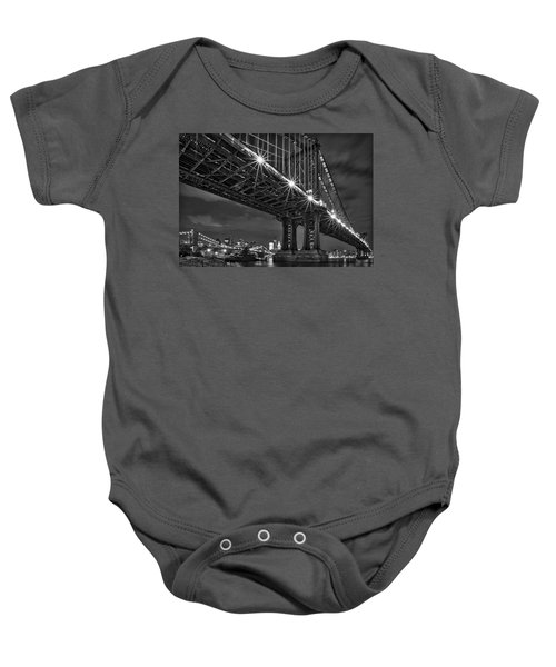 Manhattan Bridge Frames The Brooklyn Bridge Baby Onesie
