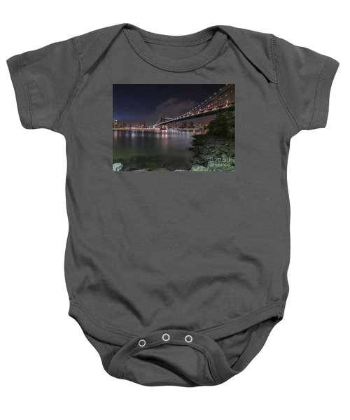 Manhattan Bridge Twinkles At Dusk Baby Onesie