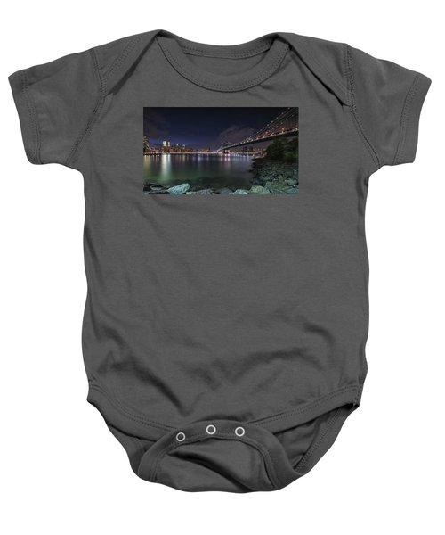 Manhattan Bridge Twinkles At Night Baby Onesie