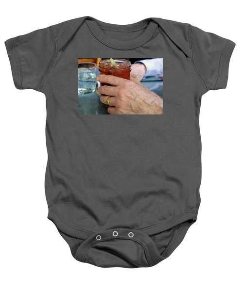 Mans Hand Holding Bloody Mary  Baby Onesie by Beth Wolff