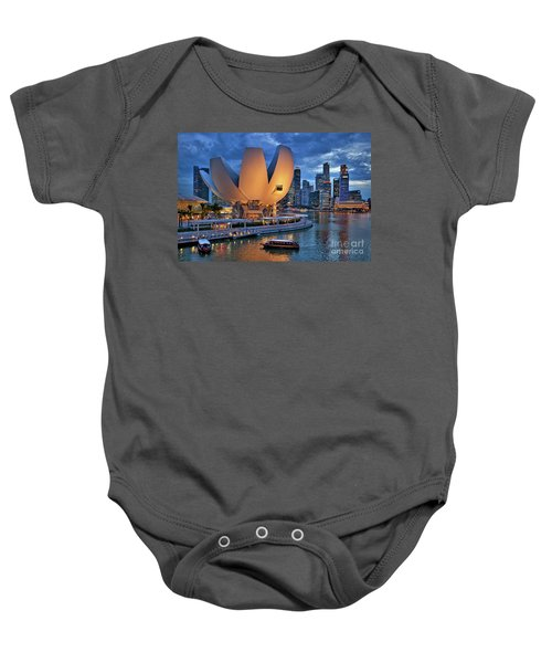 Baby Onesie featuring the photograph Marina Bay Sands Resort With The Singapore Skyline by Sam Antonio Photography