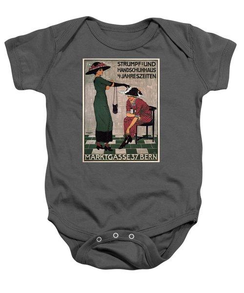 Marktgasse 37 - Bern, Switzerland - Stocking And Glove Store - Vintage Advertising Poster Baby Onesie