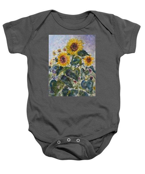 Martha's Sunflowers Baby Onesie