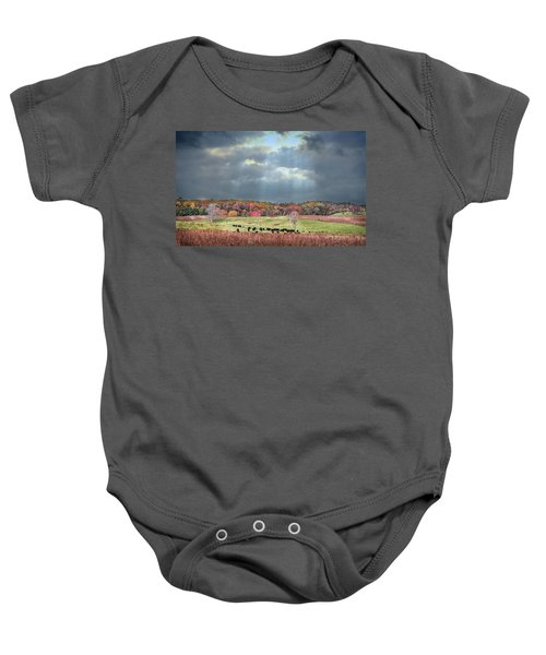Maryland Farm With Autumn Colors And Approaching Storm Baby Onesie