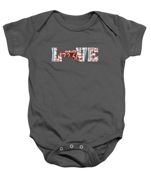Massachusetts State Love License Plate Art Phrase Baby Onesie